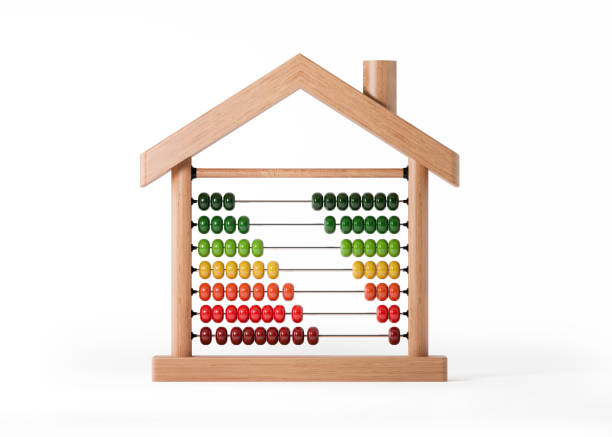 Abacus with Energy Efficiency Bars Isolated on White Background - foto stock