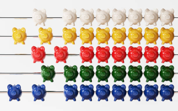 Abacus With Piggy Bank Beads Isolated on White Background - foto stock