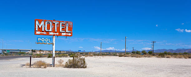 Abadoned, vintage motel sign on route 66 stock photo