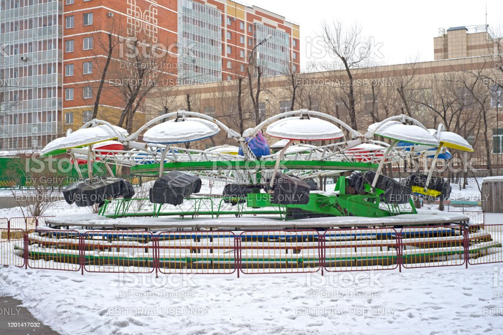 Abakan Russia 01192020 Childrens Park With Carousels Closed For The Winter Overcast Weather Stock Photo Download Image Now Istock