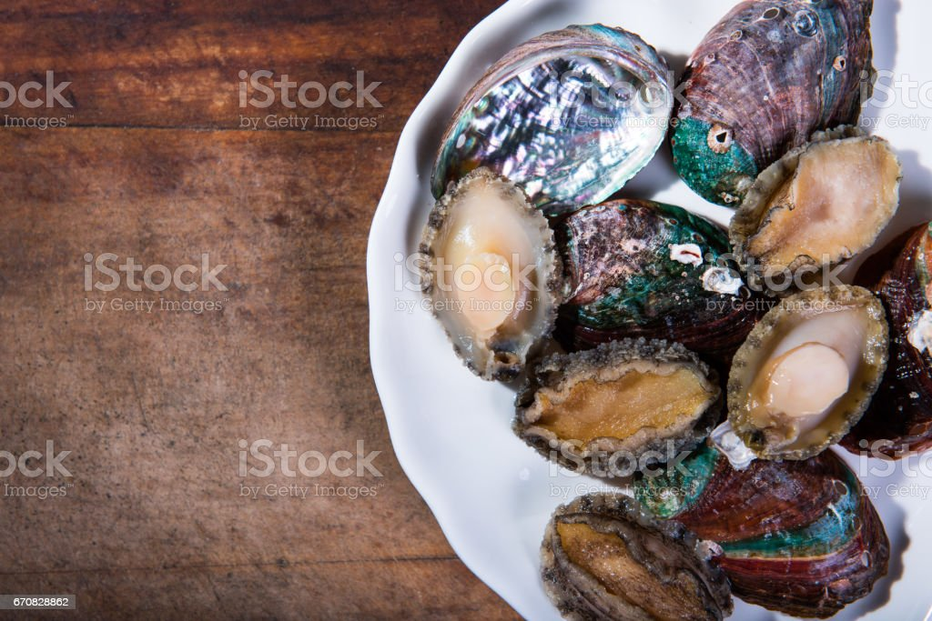 Abalone meat and shell on a white plate. stock photo