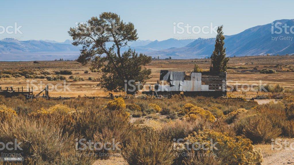 Abandon Desert farm landscape stock photo