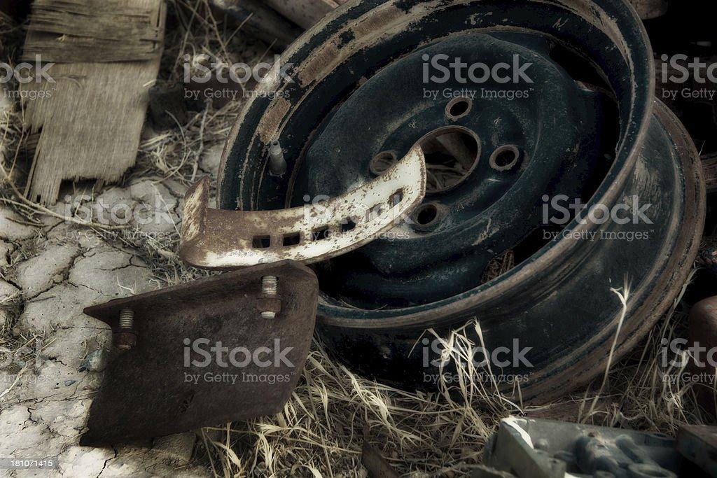 Abandonded wheel royalty-free stock photo