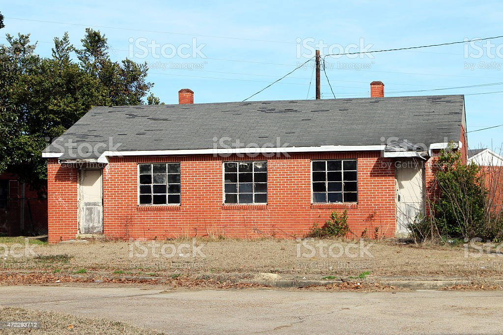 Abandoned 2 family home stock photo