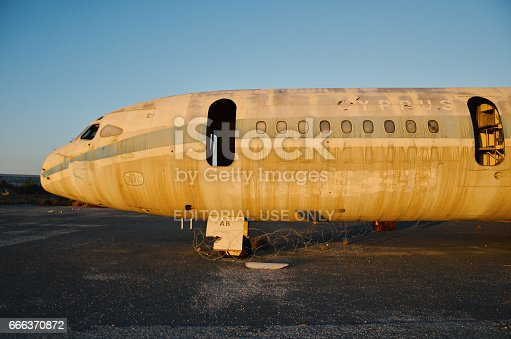 Cyprus - Nicosia - September 15, 2013: Abandoned Cyprus airways airplane at Nicosia airport in the buffer zone in Cyprus. Since the war in 1974 the airport became a UN buffer zone.