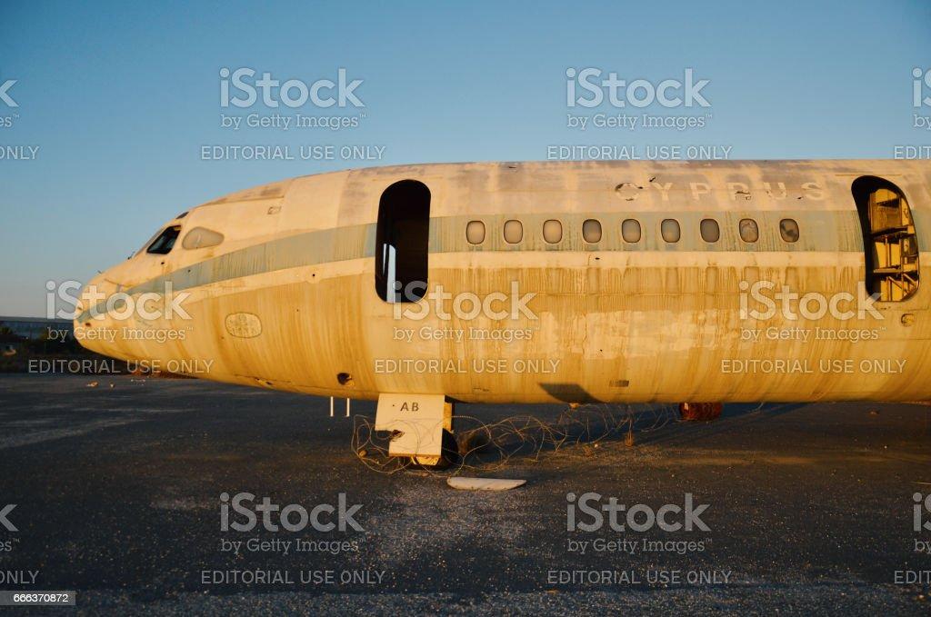 Abandoned airplane, Nicosia airport stock photo