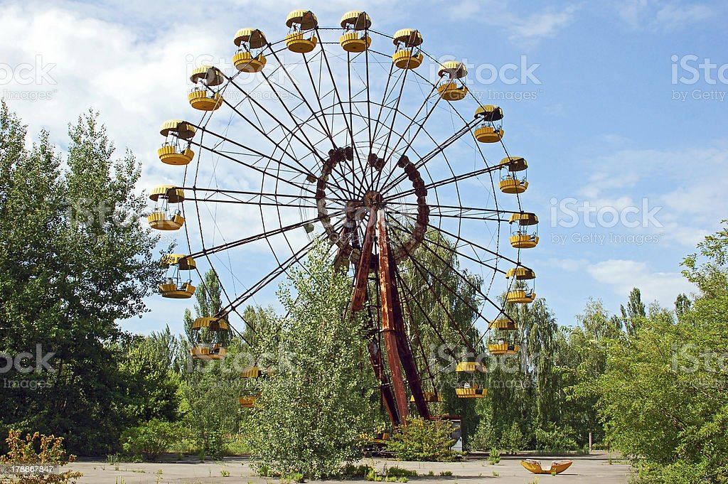 Abandoned amusement park in Pripyat, Chernobyl area stock photo