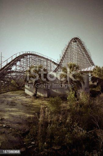 Stylized image of an abandoned amusement park