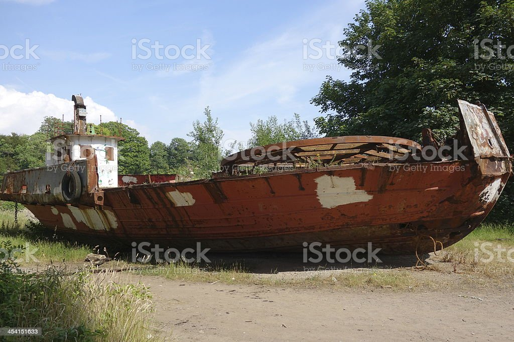 abandoned and beached car ferry left to rot away royalty-free stock photo