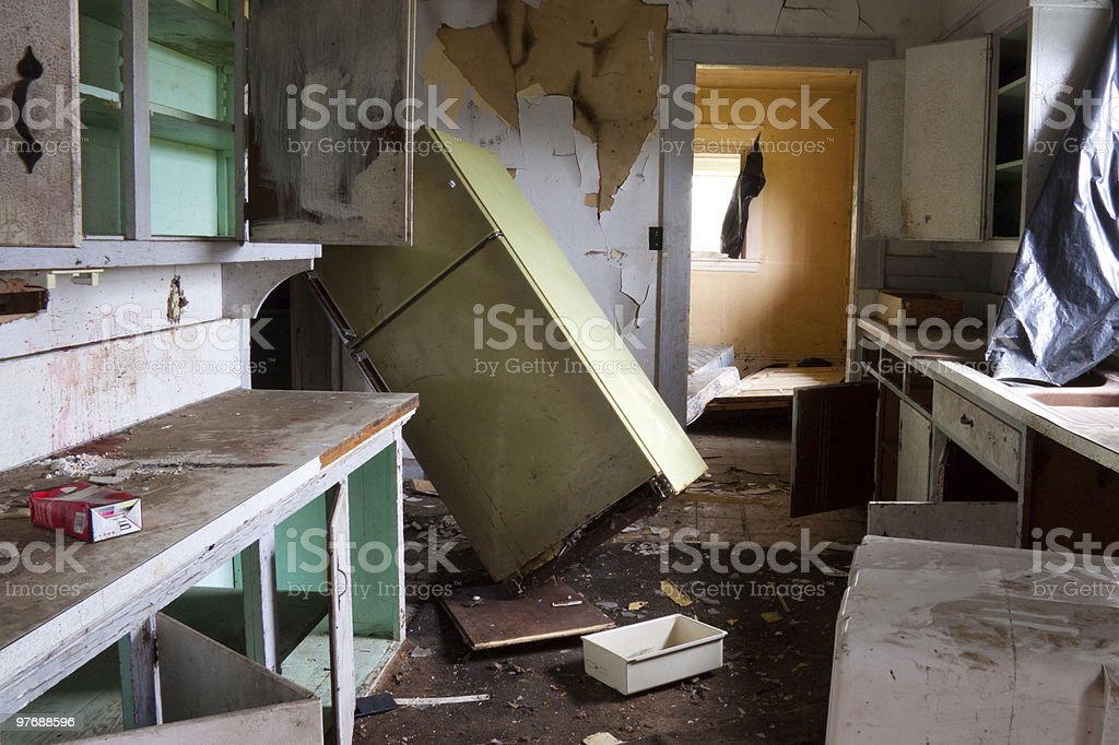 Abandoned and dilapidated house in horrible condition royalty-free stock photo