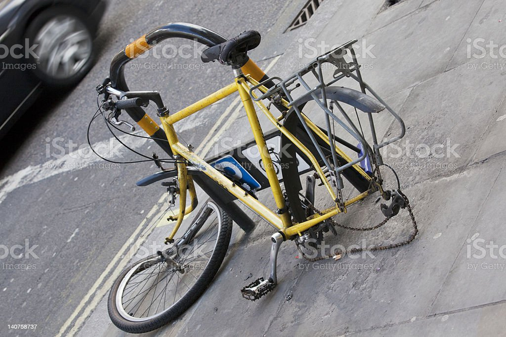 Abandoned and heavily damaged bicycle stock photo