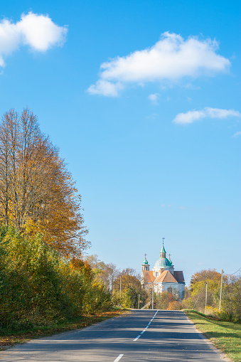 Abandoned and mysterious church of the early 18th century. beautiful autumn landscape. soft sunlight. captivating autumn view of the church. travel concept background.