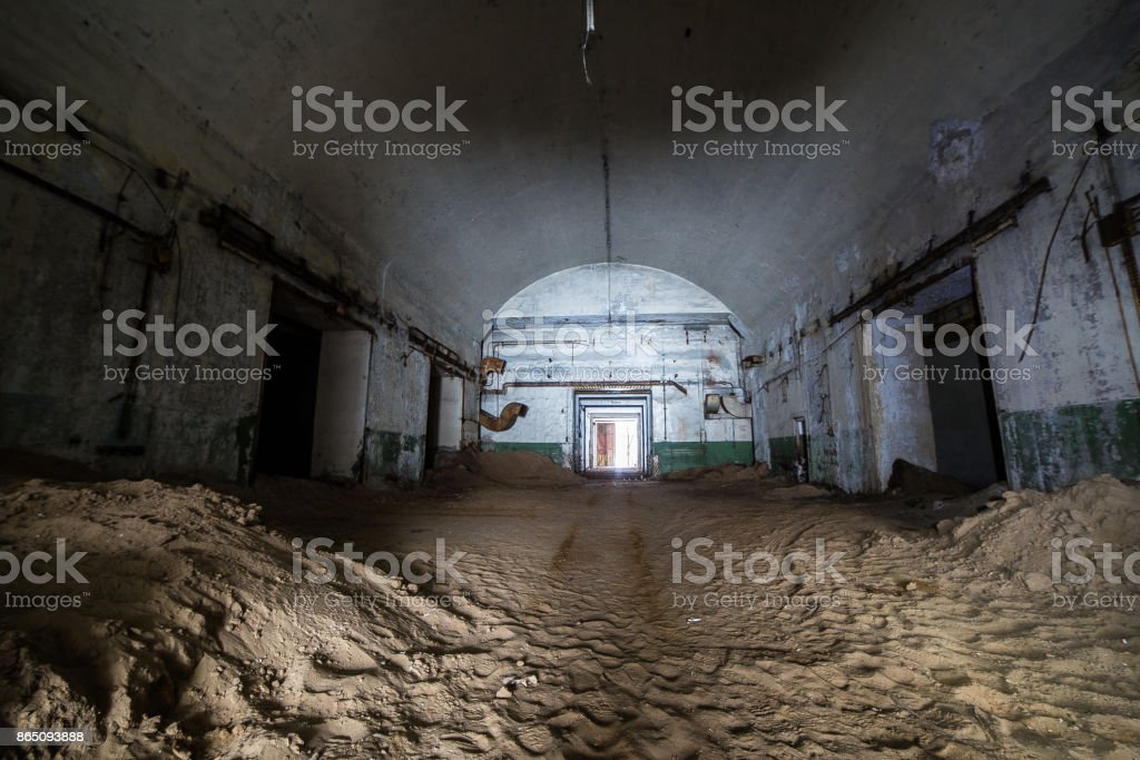 Abandoned and rusty old soviet bunker warehouse of nuclear warheads stock photo