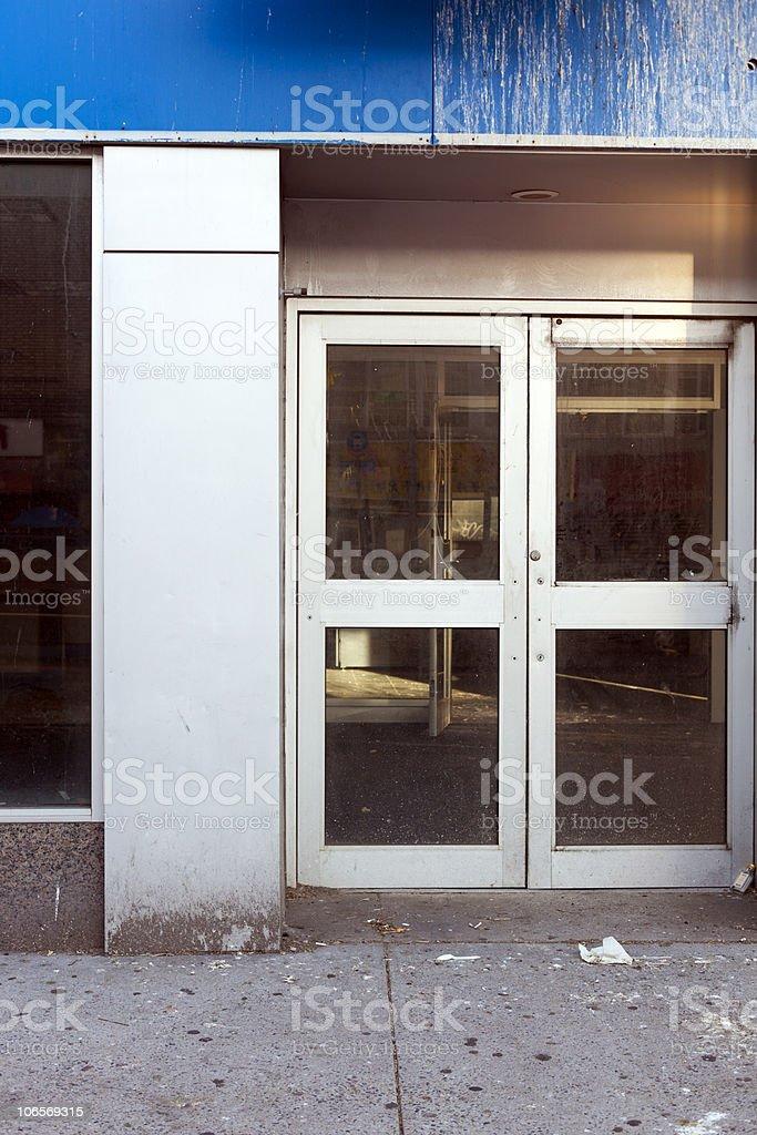 Abandoned bank entrance stock photo