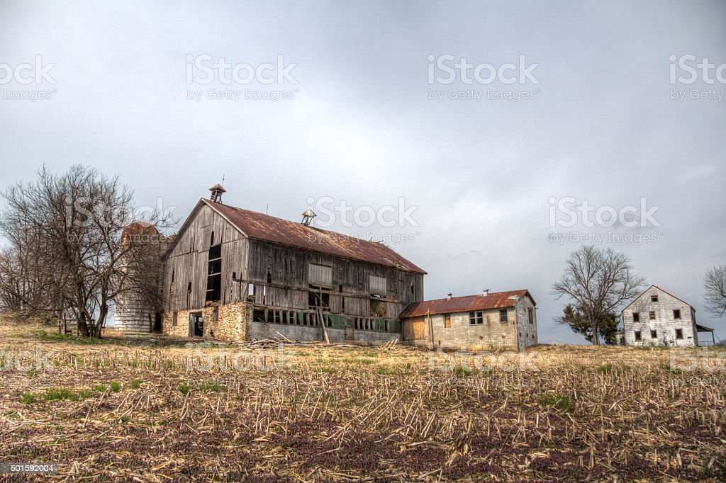 Abandoned Barn and Houses  HDR stock photo
