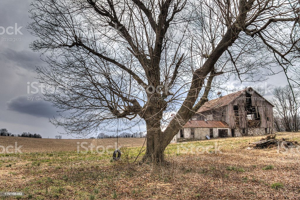 Abandoned Barn With Tire Swing,  HDR stock photo