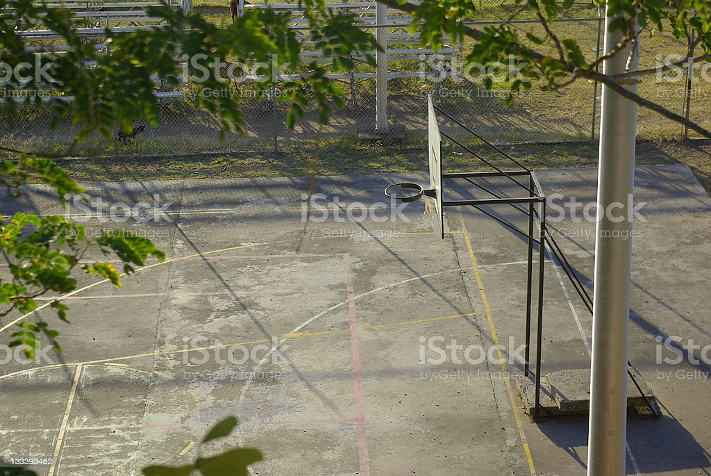 abandoned basketball court and recreational facility stock photo