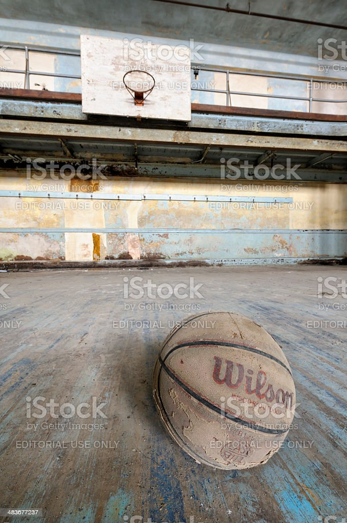 Abandoned Basketball Court Close Up, Grungy Gymnasium Interior royalty-free stock photo