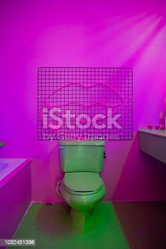 abandoned bathroom on Neon lights concept.