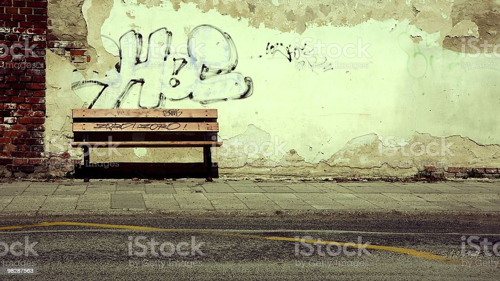Abandoned bench royalty-free stock photo