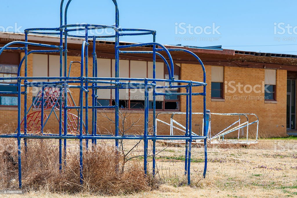 Abandoned Blue Monkey Bars stock photo