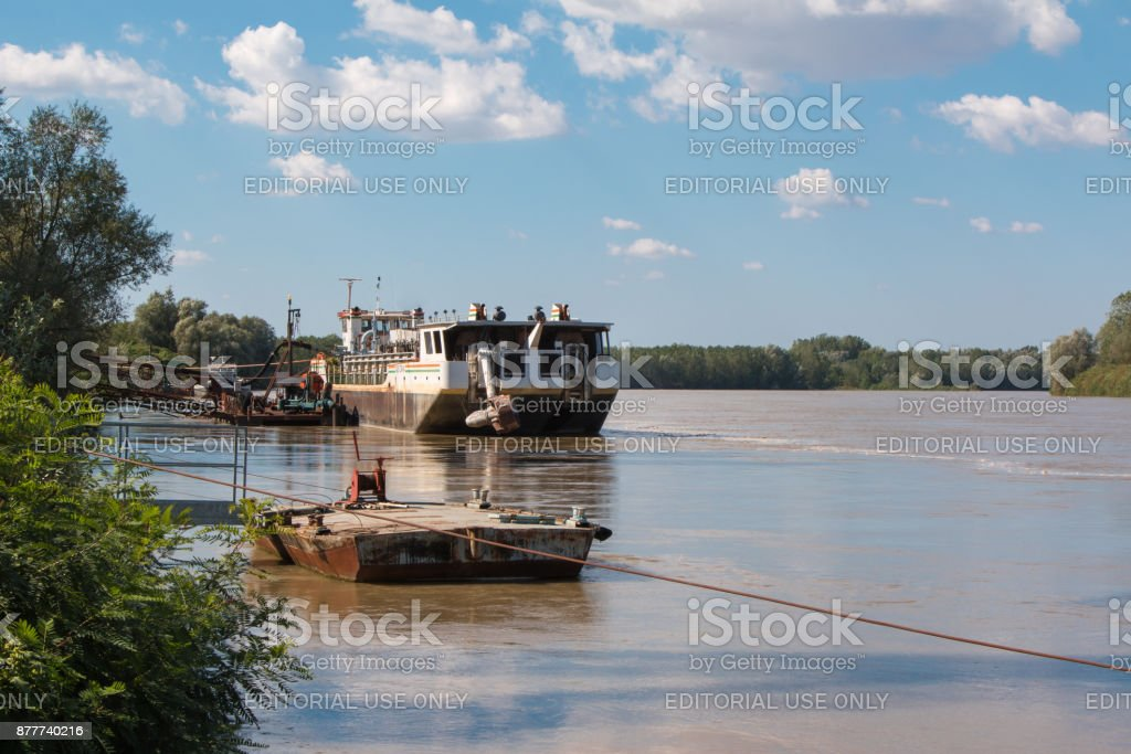 Abandoned Boat in River In Italy called Po stock photo
