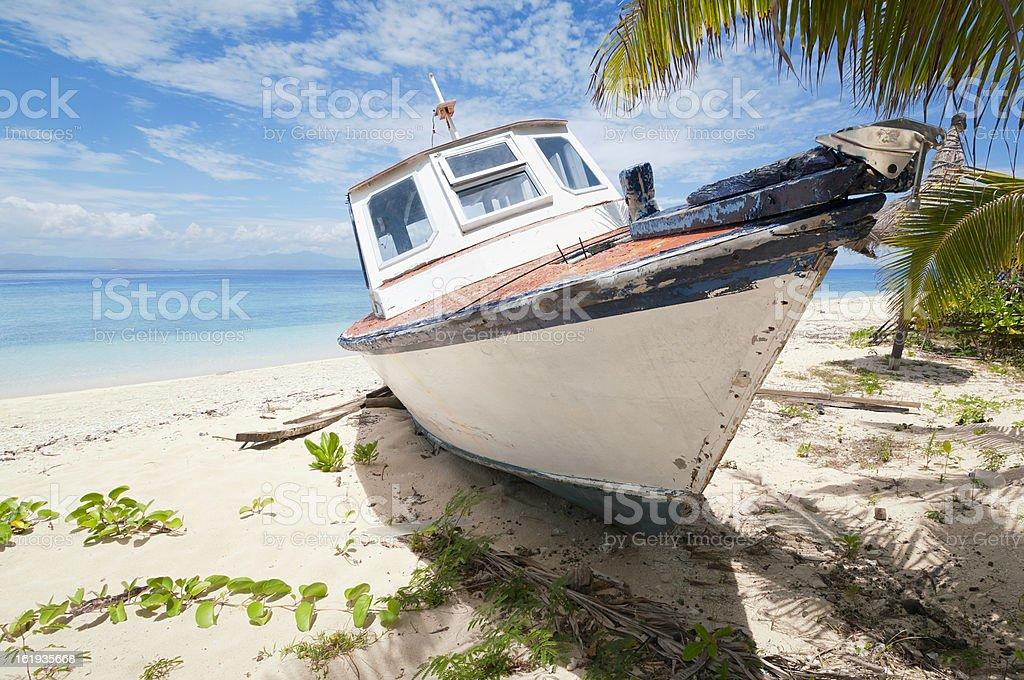 Abandoned Boat on Tropical Island royalty-free stock photo