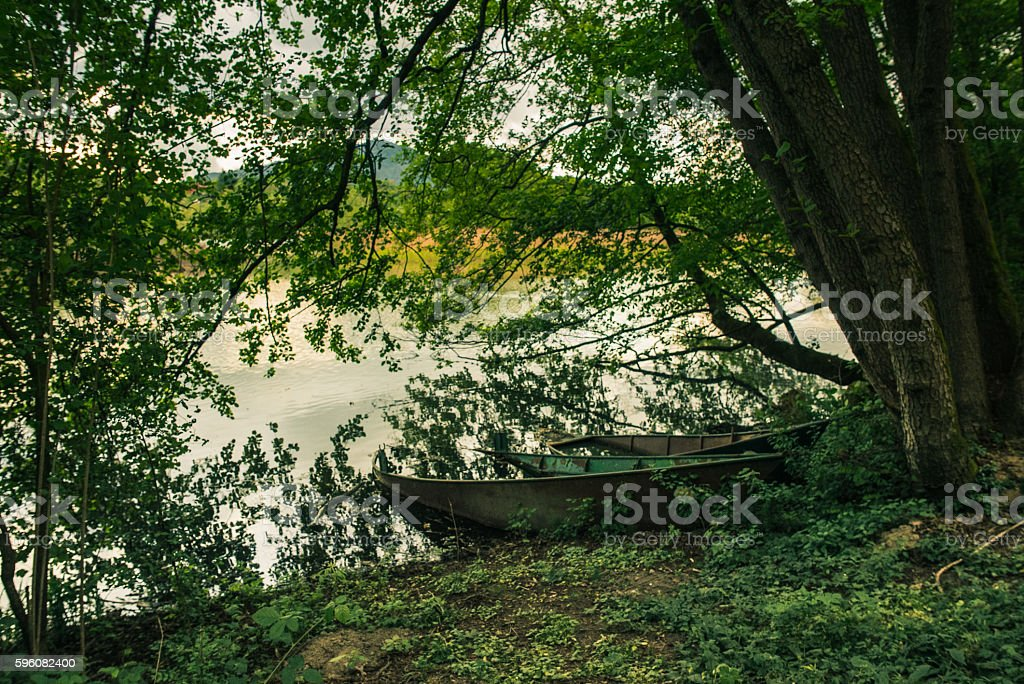 Abandoned boats by the river royalty-free stock photo