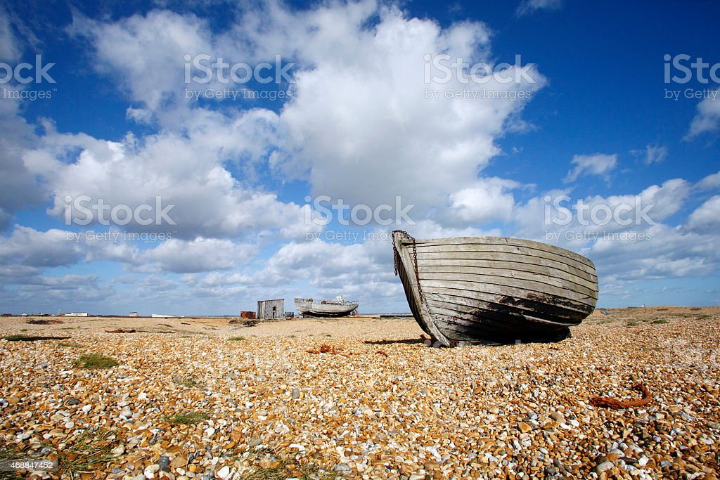 Abandoned Boats in Dungeness stock photo