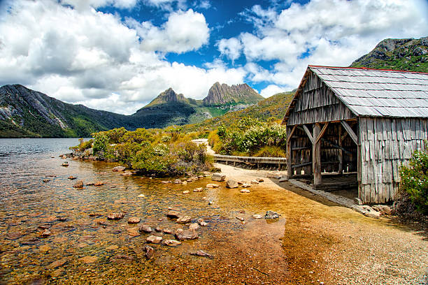 abandoned boatshed near cradle mountain, tasmania - cradle mountain stock photos and pictures