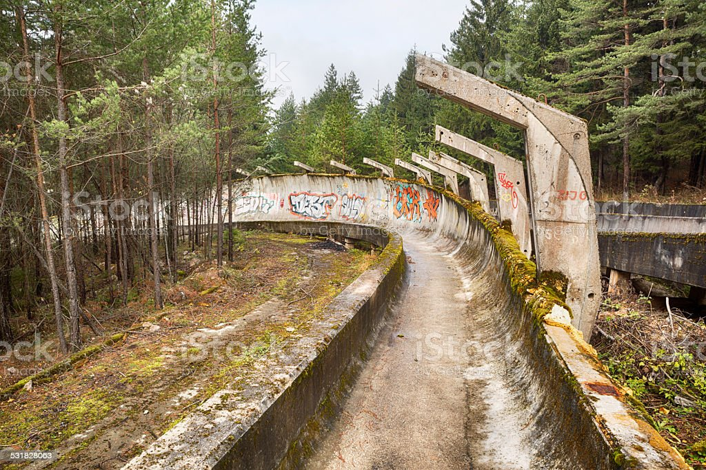 Abandoned bobsled track at Mount Trebevic, Sarajevo, Bosnia stock photo