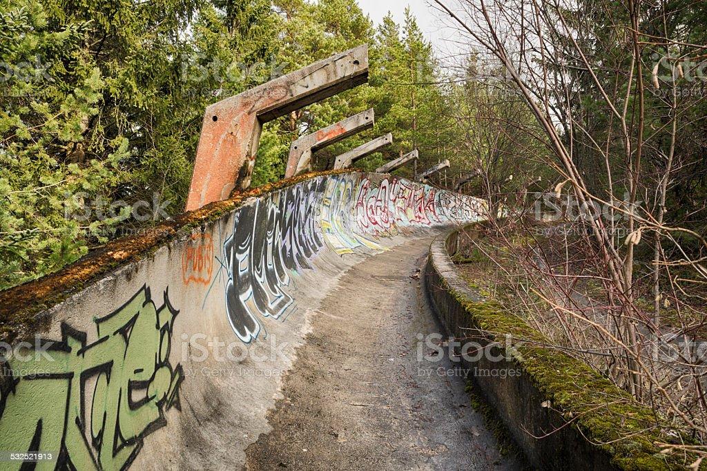 Abandoned bobsled track at Mount Trebevic, Sarajevo, Bosnia stock photo