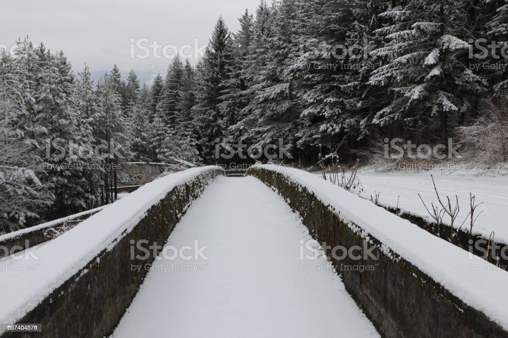Abandoned Bobsleigh track and luge track on Mount Trebevic stock photo