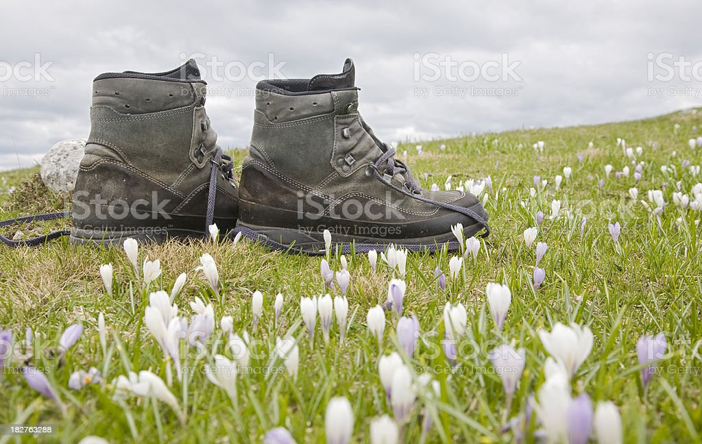 abandoned boots royalty-free stock photo
