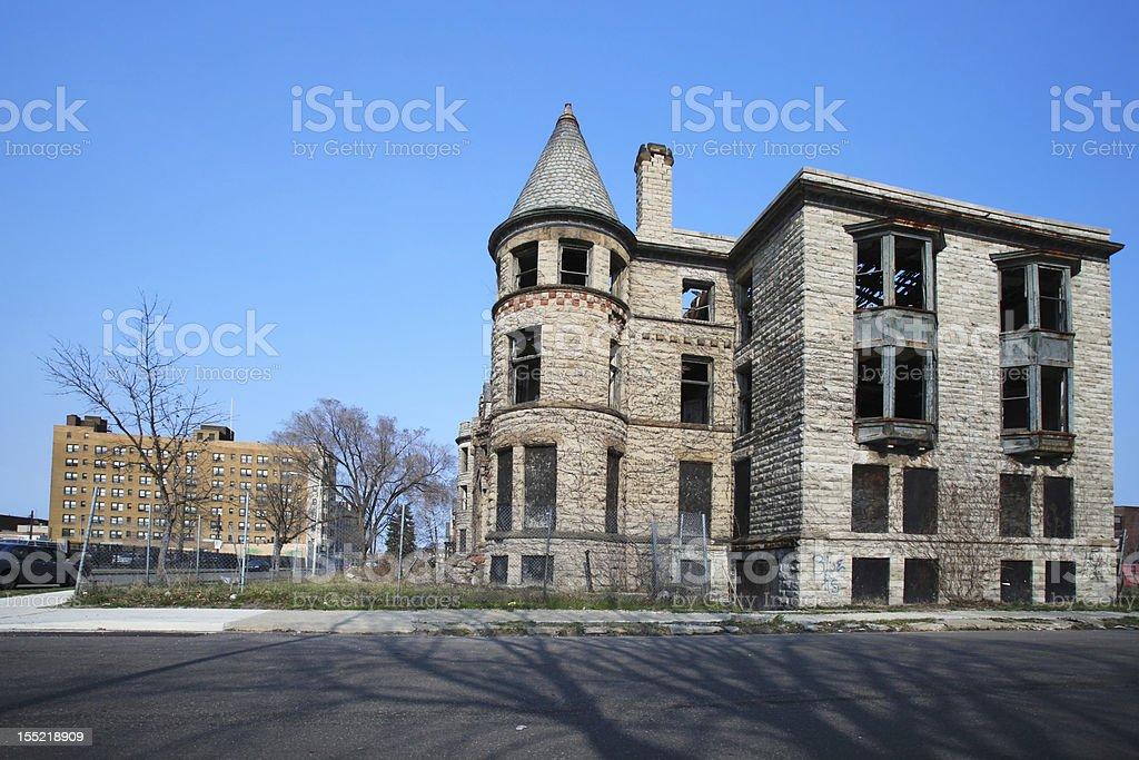Abandoned brick house, Detroit, Michigan stock photo