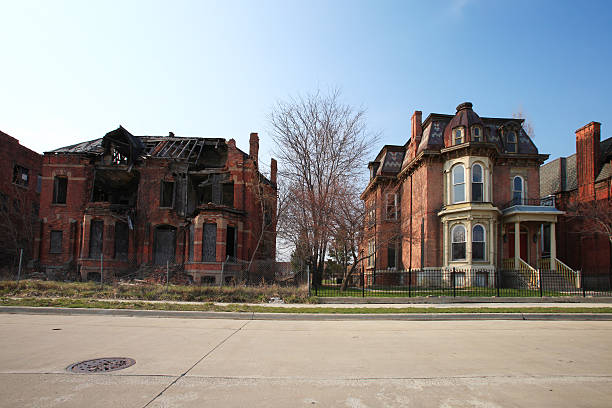 abandoned brick houses, detroit, michigan - run down stock pictures, royalty-free photos & images
