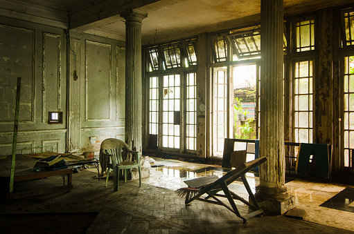Abandoned British club mansion from the colonial era, Rangon, Myanmar