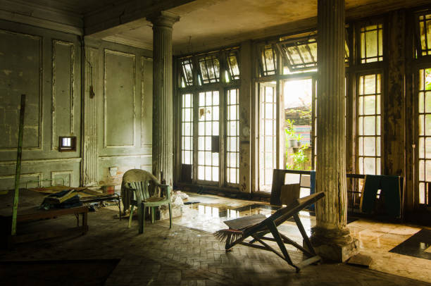 Abandoned British club mansion from the colonial era, Rangon, Myanmar stock photo