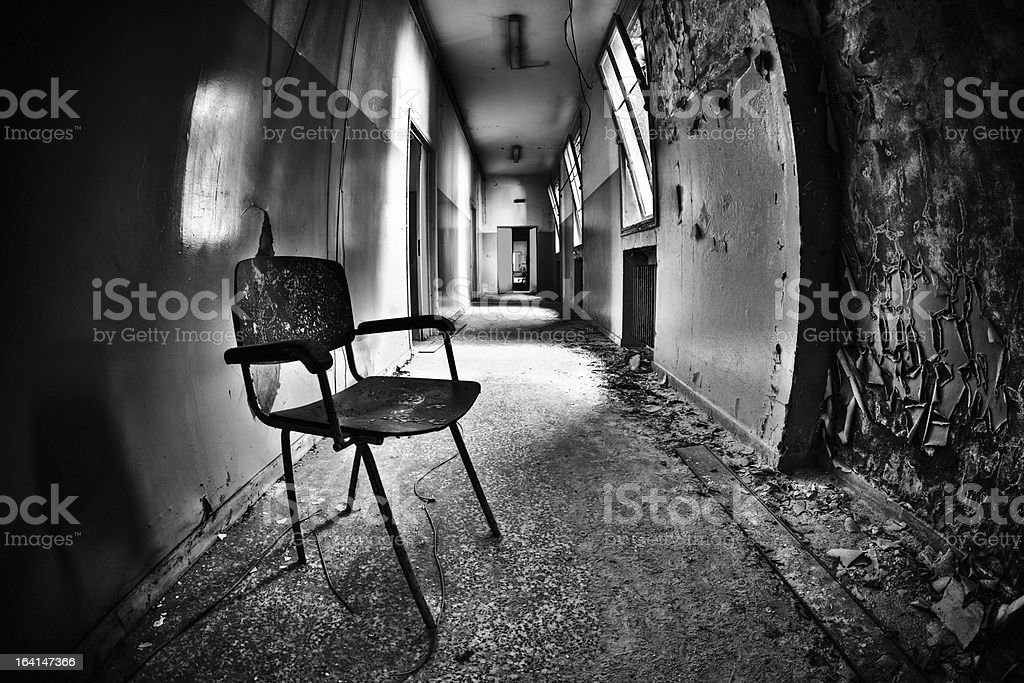 Abandoned Building Corridor Grunge Architecture HDR royalty-free stock photo