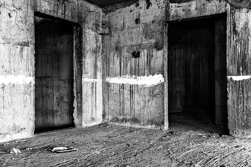 abandoned building creepy place, darkness horror creepy and halloween background