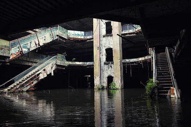 Abandoned building. Destroyed flooded shoping mall in Bangkok. stock photo
