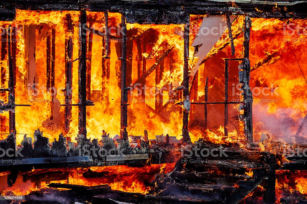 Abandoned Building Fire Department Burn stock photo