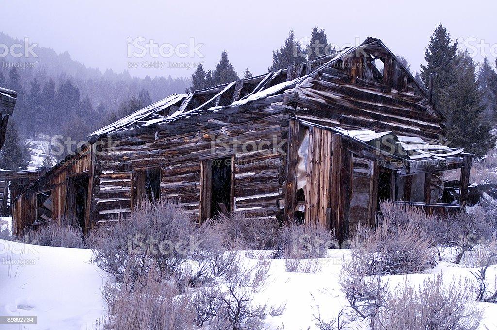 Abbandonato edificio in Comet, Montana foto stock royalty-free