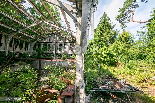Abandoned Building on a public walking path in Pembury near Royal Tunbridge Wells,, England