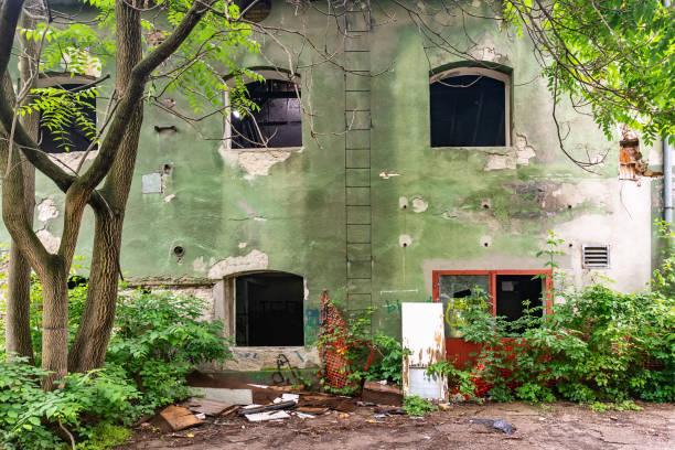 Abandoned building in the center of Novi Sad in Radnicka Street stock photo