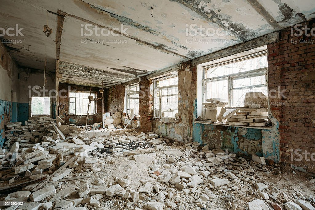 Abandoned Building Interior. Chernobyl Disasters stock photo