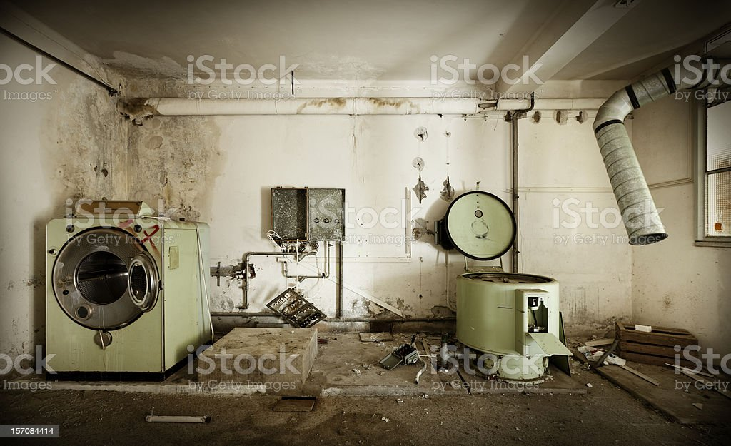 abandoned building, .old laundry stock photo
