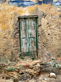 Bricked up Entrance to aN Abandoned Building g in Willemstad on the caribbean Island of Curacao