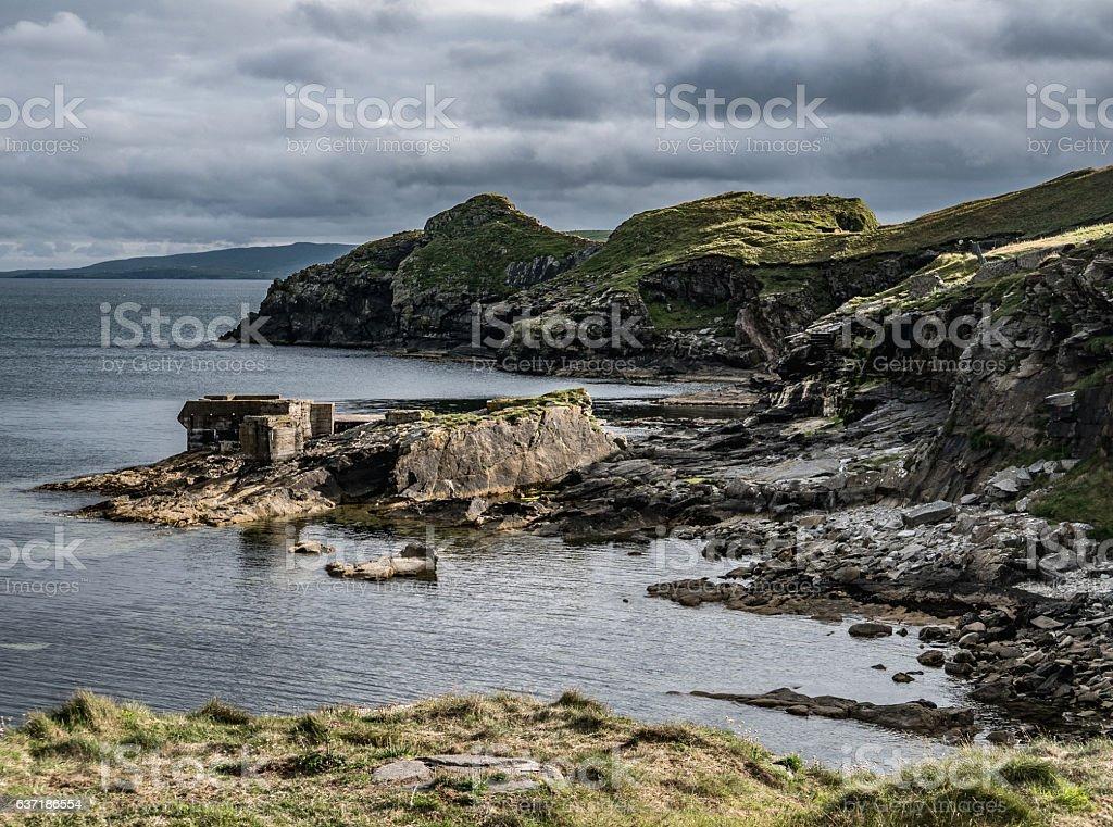 Abandoned Building, Shetland Coastline stock photo