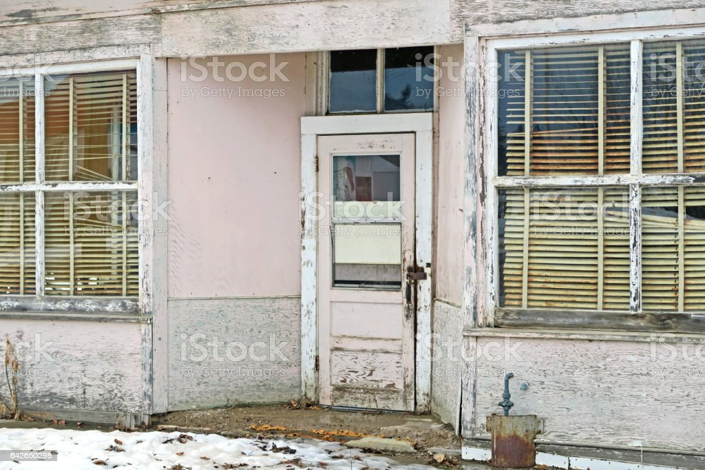Abandoned Building With Rotting Door And Window Frames Venetian ...